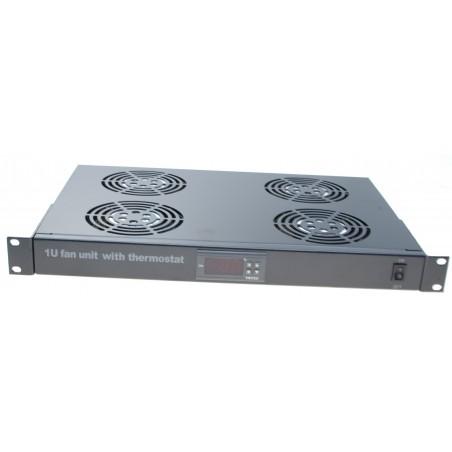 """1U 19"""" blæserindsats med termostat til ind- og udkobling af de 4 stk. indbyggede blæsere"""