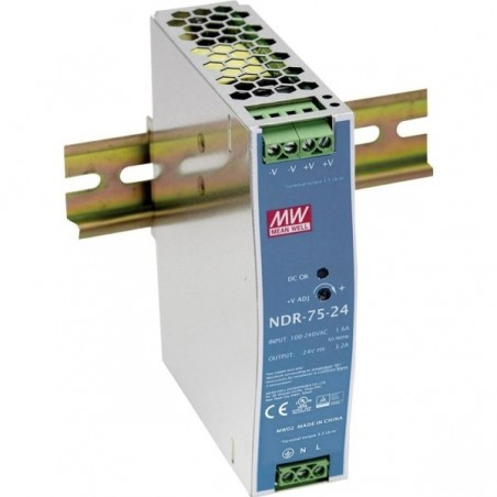 24V/3.2A strømforsyning, DIN-skinne