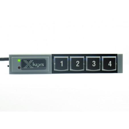 4 programmerbare taster på række, USB