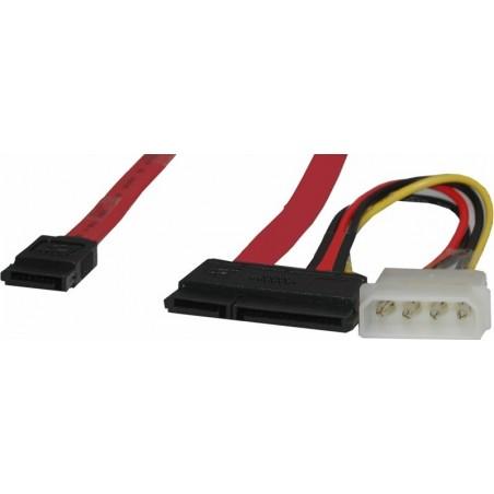S-ATA150 kabel med power, 1 meter. 1 x 7-pin og 1 x SATA