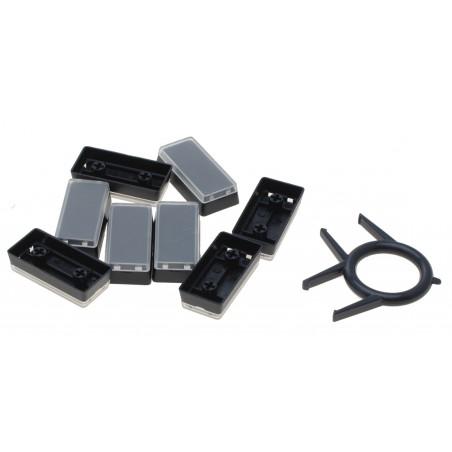 Løse aflange / dobbelte tastaturtaster i sort med gennemsigtigt låg.