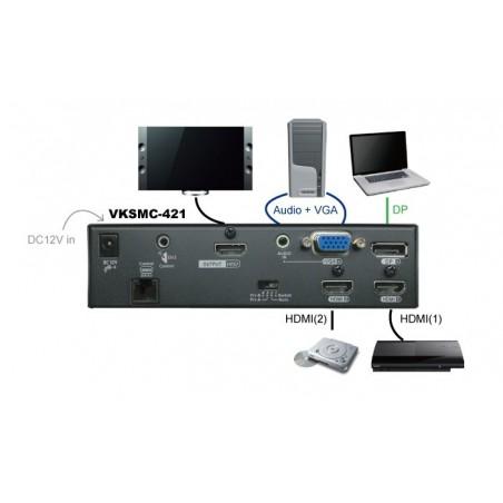 VKSMC-421, Multi-Format Video Switch med RS232 & IR Control 4K UHD