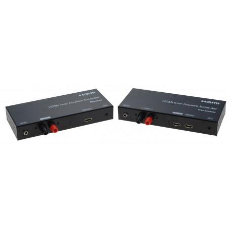 HDMI extender op til 3800 meter mellem sender og modtager via et parsnoet kabel