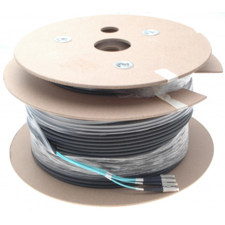 Armeret fiberkabel Multi Mode, 50/125μm, 4 x LC stik. Sort, 100 m