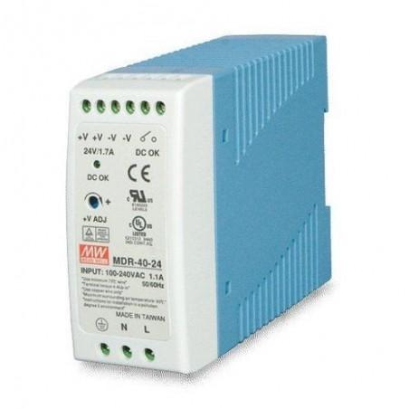 24V/1.7A AC/DC strømforsyning, 40W, -20-70°C