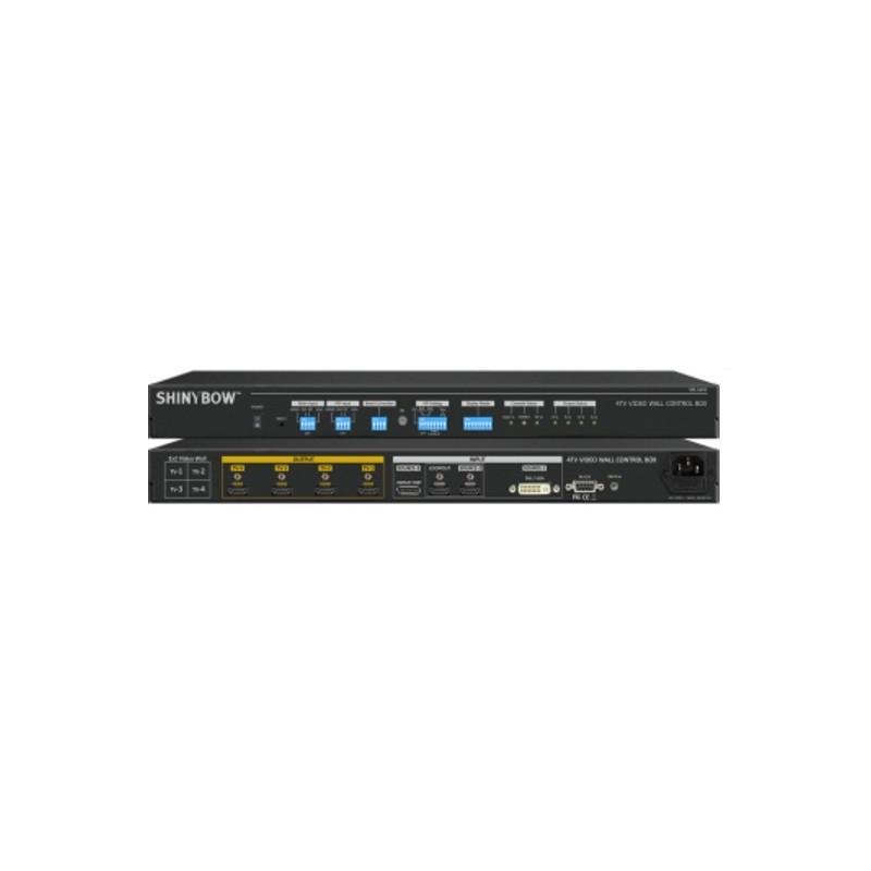 Videowall/ splitter/ controller med 4 x HDMI, 4K, PiP, POP. Splitter 4K skærmbillede udover 4 x skærme