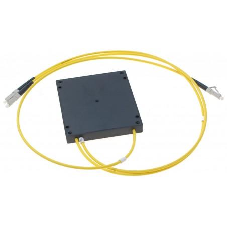 Fibersplitter 1 x LC- 2 x LC med PLC splitterboks, LSZH, multimode, 50/125µm, 3.0mm, gul, kabel: 1,0 meter