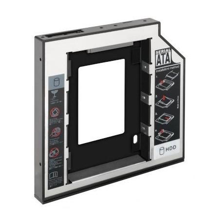 """5½"""" Monteringsramme/ adapter/ drev til 2½"""" HDD eller SSD til intern SATA tilslutning, 12,7 mm tyk, Plug & Play"""