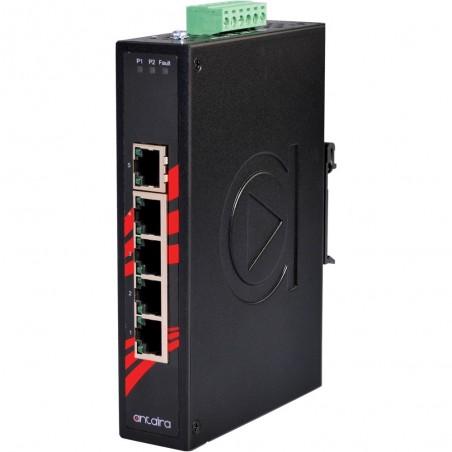 5 ports Industriel 10/100/1000Mbit switch, DIN-beslag, -40 - +80°C, 12 - 48VDC