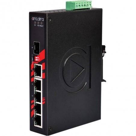 5 ports Industriel 10/100/1000Mbit + 1 x 100/1000Mbit SFP slot switch, DIN-beslag, -10 - +70°C, 12 - 48VDC