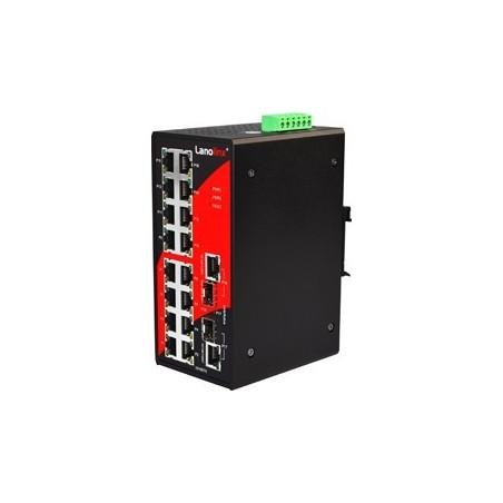 16 ports Industriel 10/100Mbit + 2 x 100/1000Mbit SFP slot switch, DIN-beslag, -10 - +70°C, 12 - 48VDC