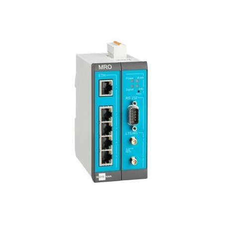 INSYS Industriel LTE Router, M2M, Multi VPN, 5 port switch, RS232, LINUX, Smartbox, 12 - 24VDC
