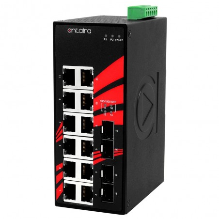12 ports Industriel 10/100/1000Mbit + 4 x 100/1000Mbit SFP slot switch, DIN-beslag, -40 - +75°C, 12 - 48VDC