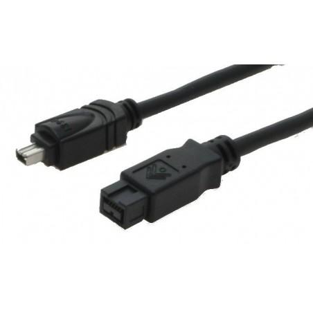 Firewire IEEE 1394b adapterkabel 4-polet han – 9 polet han FW800, sort, 4,5m