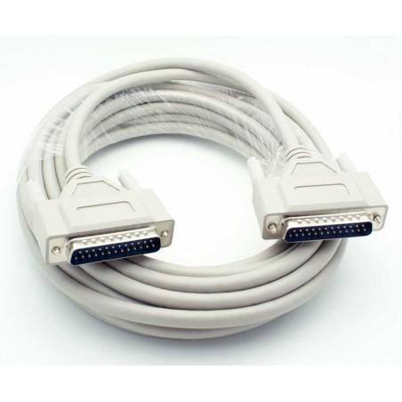 SUB D RS232 tilpasningskabel, DB25 han - DB25 han, skærmet, IEEE1284, AWG28, grå, 0,75cm