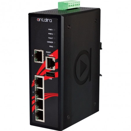 5 ports Industriel 10/100Mbit managed switch. DIN-beslag. -10 - +70°C, 12 - 48VDC