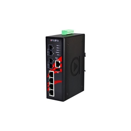 4 ports Industriel 10/100Mbit + 2 ports 100Mbit SC, Multi Mode, managed switch. DIN-beslag. -10 - +70°C, 12 - 48VDC