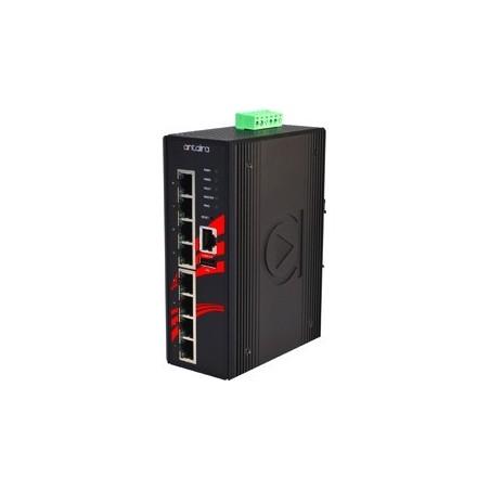 8 ports Industriel 10/100/1000Mbit switch, DIN-beslag, -10 - +70°C, 12 - 48VDC