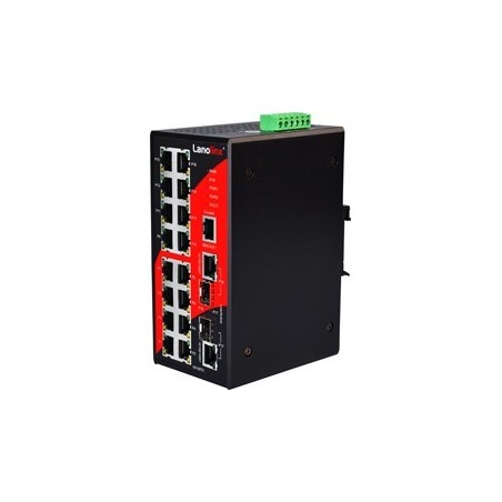 16 ports Industriel 10/100/1000Mbit + 2 ports 100/1000Mbit SFP slot (combi), managed switch. DIN-beslag. -10 - +70°C, 12 - 48VDC