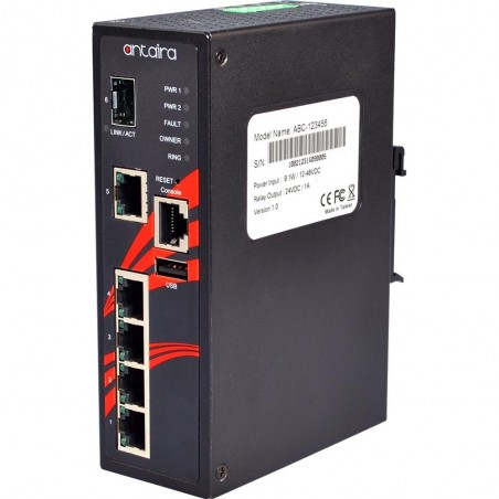 5 ports Industriel 10/100/1000Mbit PoE switch + 1 x Gbit SFP slot, DIN-beslag, -10 - +70°C, 48 - 55VDC