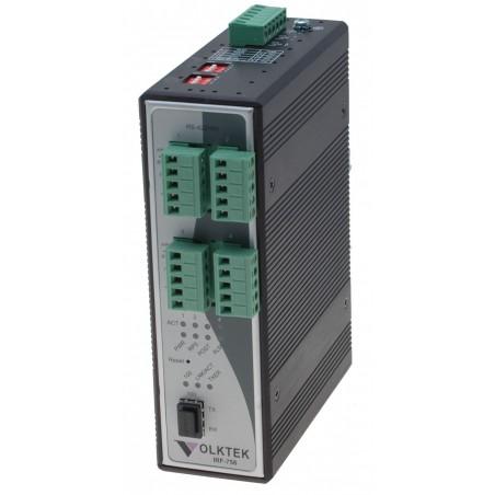 4 ports serielportserver via fiber, 4 x RS422/485, SFP multi og singlemode