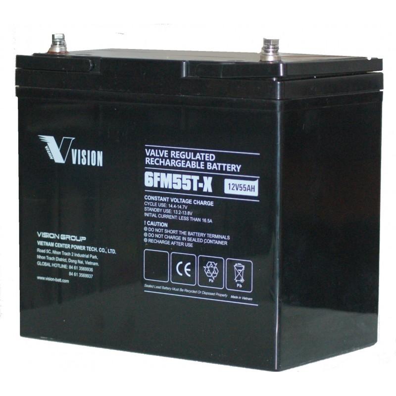 Ventilreguleret genopladeligt batteri 12V 55Ah med skruepoler, egnet til UPS