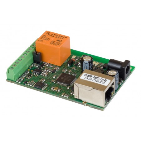 Board til fjernkontrol og måling via Internet/LAN, 1 x DI, 1 x AI, 1 x Relæ, 1-Wire føler indgang