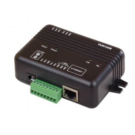 Modul til fjernkontrol og måling via Internet/LAN, 2 x DI, 2 x AI, 2 x Relæ udgang, 1-wire føler indgang