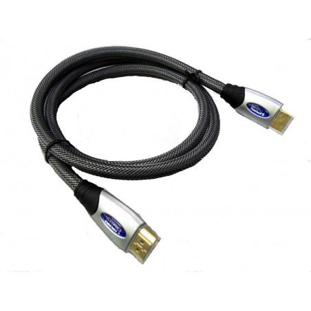 Sort, HDMI 1.4 kabel. HDMI han - HDMI han med Ethernet, 1,0 meter