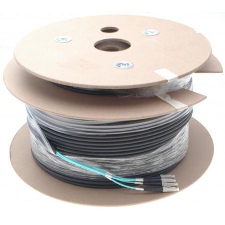 Armeret fiberkabel Multi Mode, 50/125μm, 4 x LC stik. OM3. Sort, 150 m