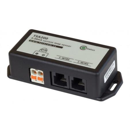 1-wire Current loop transmitter, 0-20mA/4-20mA, 10 bit opløsning, 2 x RJ11, kaskadekobling