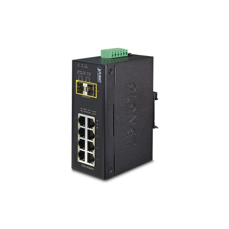 10 ports industri switch 8 x Gbit RJ45 + 2 x SFP - Unmanaged, 12-48VDC, -40 - +75°C