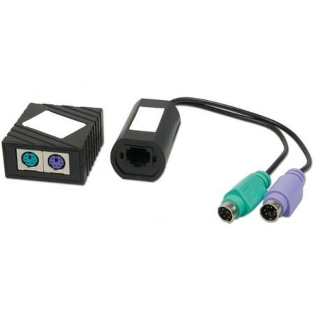 PS/2 tastatur og muse extender via CAT5/5e/6/7 UTP kabel, passiv