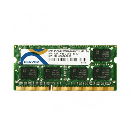 DDR3L SDRAM - SO-DIMM 204-pin - 1600MHz - Dual - understøtter både 1,35V og 1,5V - -40° til +85°, 8GB