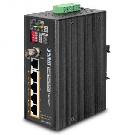 Ethernet over 75 ohm Coax kabel eller UTP kabel med 4-ports VDSL omformer. PoE.