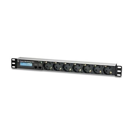 Tænd og sluk udstyr via netværk, 7 x Schuko udgange, op til 16A, 2 x RJ45, reststrømsmåling type A