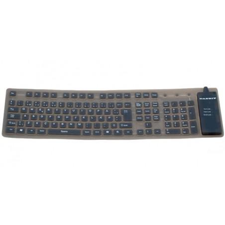 Bøjeligt IP65 tæt silikonetastatur - USB, nordisk tegnsæt, grå