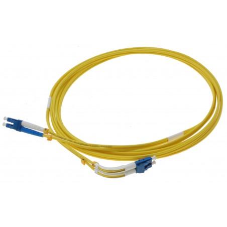 Singlemode LC fiber patchkabel med 4 x LC hanstik, vinklet 90°, duplex, 9/125 μm, 1 meter