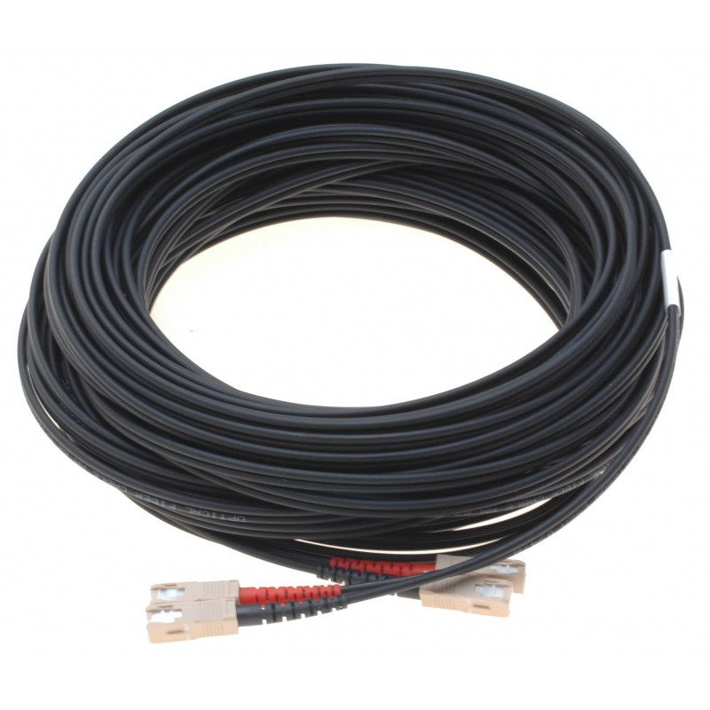 Fiberoptisk kabel med fleksibel armering af rustfrit stål - multimode SC, 50 meter