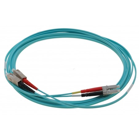Fiber optisk omformerkabel- multimode LC-SC, 50-125µm, duplex, aqua, OM3, 1,0 meter