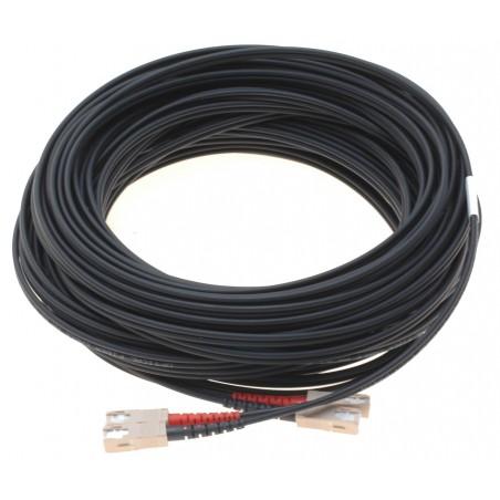 Fiber optisk kabel med fleksibel armering af rustfrit stål - multimode SC, 70 meter