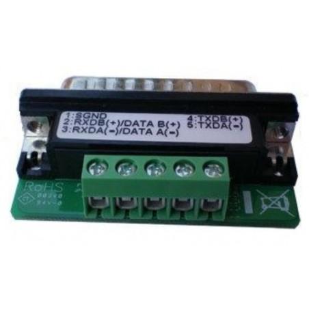 Omformer DB25 han til RS422/485 terminalblok. Adapter med 5 skrueterminaler - Moxa NP21103