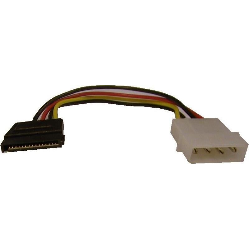 SATA strømadapter. Kabel: MOLEX PSU på drev med SATA-stik, 10 cm