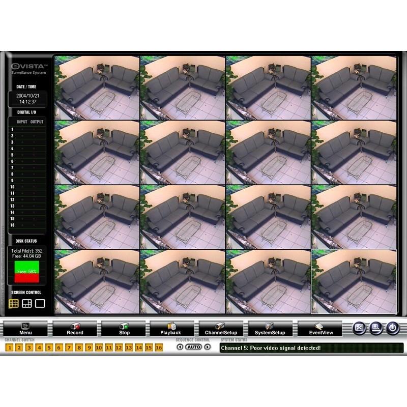 PCI-kort med kameraindgange og mange avancerede funktillioner, 16 kanals analog video till PC