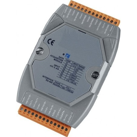 20 x analoge indgange, 16/12bit, maks. +/-10 volt, RS 485 bus