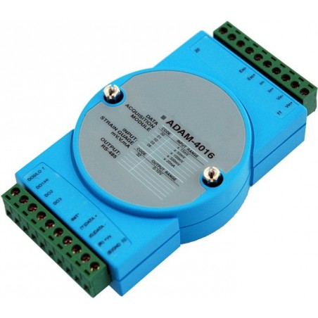1 x analog ind for Strain Gauge, 1 x analog ud, 4 x digitale ud, RS485 bus, ADAM-4016