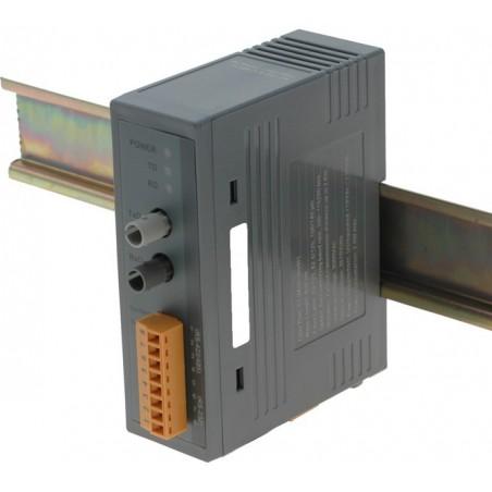 RS232/422/485 til Multi Mode fiber konverter, ST stik, op til 2km, DIN skinne