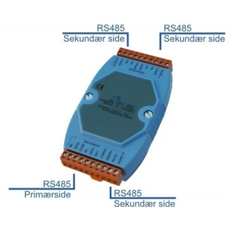 Optoisoleret 3 x RS485 repeater og 1 til 3 splitter