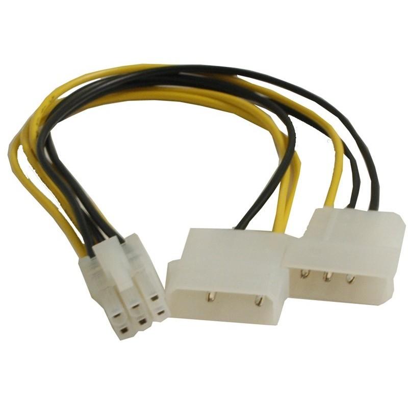 SATA stillrømadapter . Konvertiller 2 x Molex hane 6 Poletill PCIE