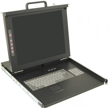 """Dansk 19"""" 1U konsol med 17"""" skærm, tastatur og mus, 16 ports KVM omskifter"""